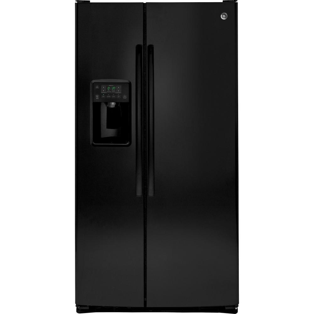 Ge 25 4 Cu Ft Side By Side Refrigerator In Black