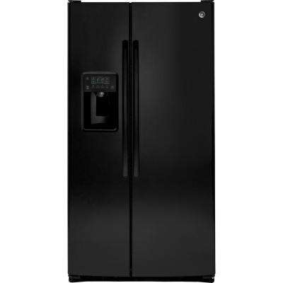 25.4 cu. ft. Side by Side Refrigerator in Black, with Icemaker