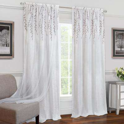 Willow White Polyester Rod Pocket Curtain - 42 in. W x 84 in. L