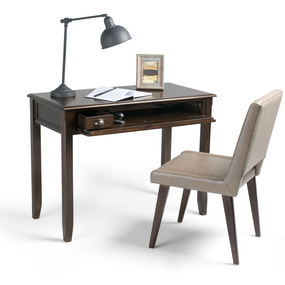 Simpli Home Burlington Espresso Brown Desk With Keyboard Tray 3AXCBUR 007    The Home Depot