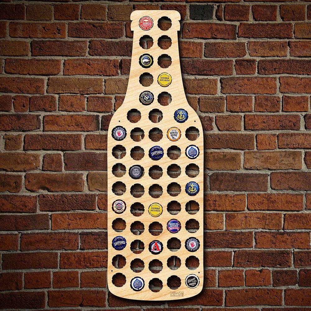 23 in. x 8 in. Wooden Bottle Beer Cap Map