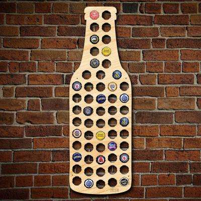 23 in. x 8 in. Wooden Bottle Beer Cap Map