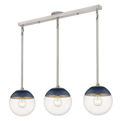 Dixon 3-Light Pewter Globe Pendant with Glass Shade