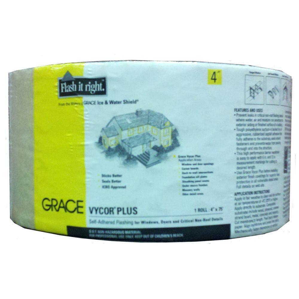 Grace Vycor Plus 4 in. x 75 ft. Roll Fully-Adhered Flashing