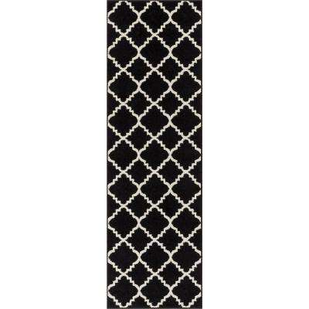 Sydney Lulu's Lattice Trellis Black 2 ft. x 7 ft. Modern Runner Rug