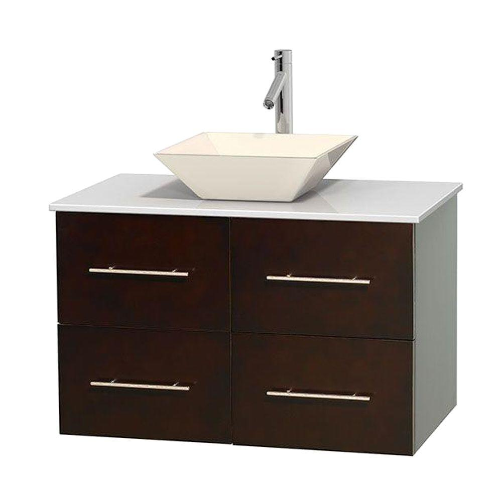 Centra 36 in. Vanity in Espresso with Solid-Surface Vanity Top in