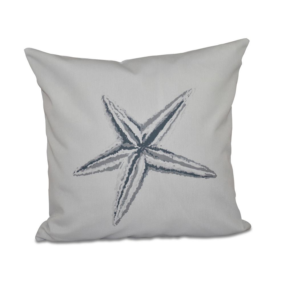 Small Gray Decorative Pillow : 16 in. x 16 in. Small Starfish Decorative in Gray Pillow-PAN599GY5-16 - The Home Depot