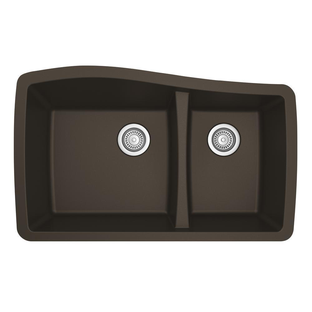 Karran Undermount Quartz Composite 33 in. 60/40 Double Bowl Kitchen Sink in Brown