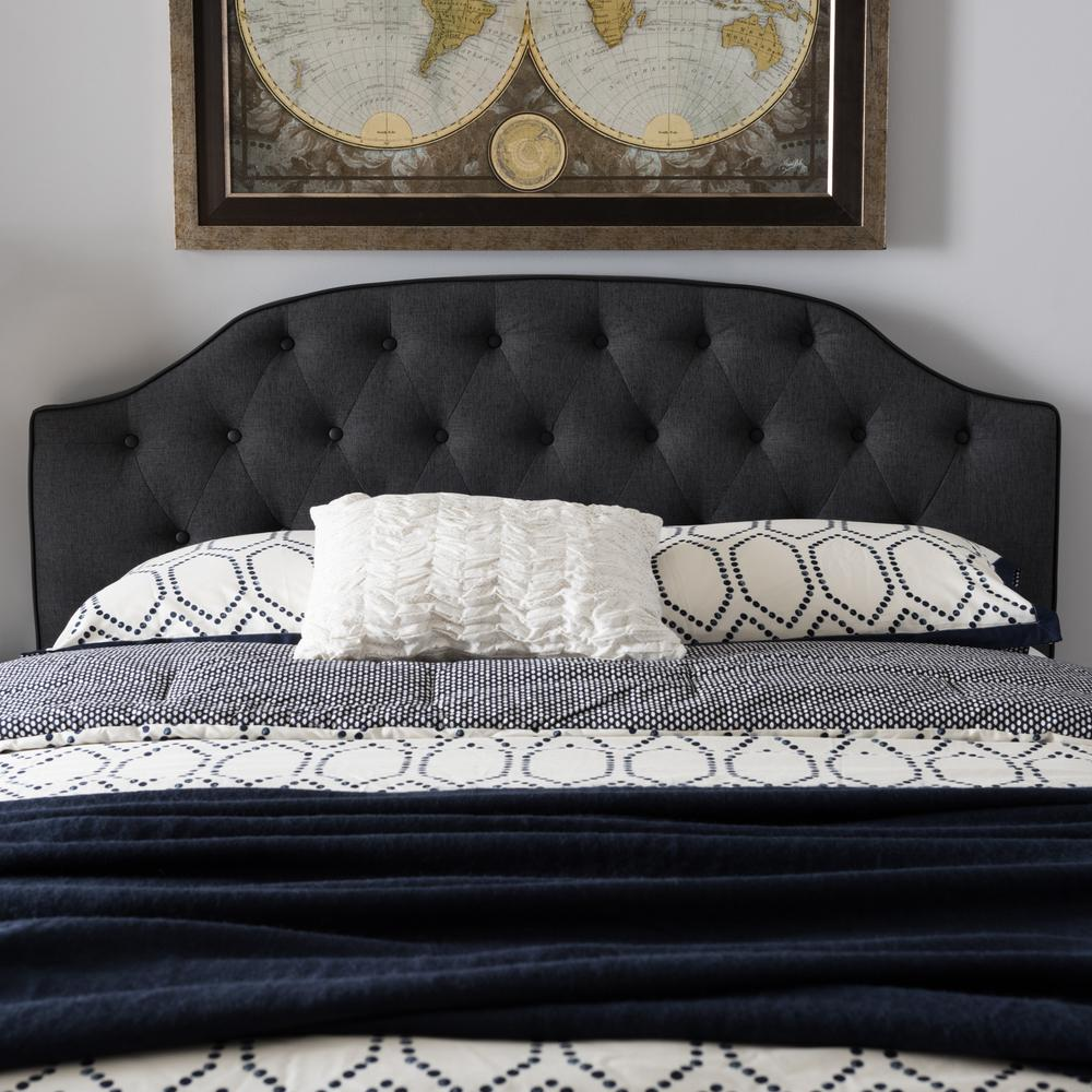baxton studio windsor dark gray fabric upholstered full size headboard 28862 7158 hd the home. Black Bedroom Furniture Sets. Home Design Ideas