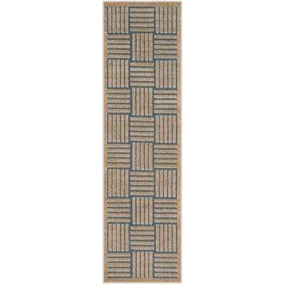 Cottage Light Blue/Beige 2 ft. x 8 ft. Indoor/Outdoor Runner Rug