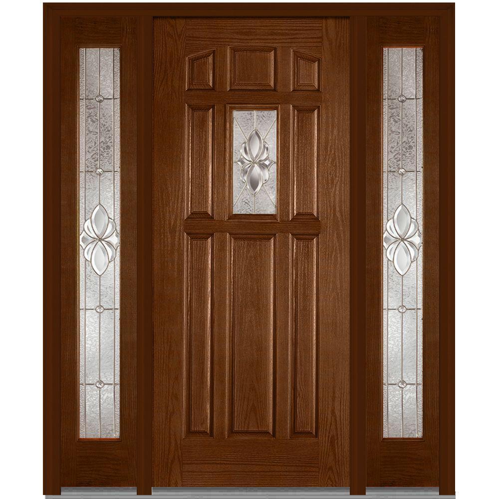 Fiberglass doors front doors the home depot 60 in x 80 in heirloom master left hand decorative 1 lite planetlyrics Choice Image