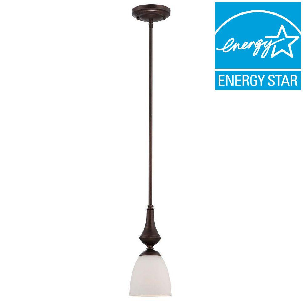 Glomar 1-Light Prairie Bronze Mini Pendant with Frosted Glass Shade and 13-Watt GU24 Lamp