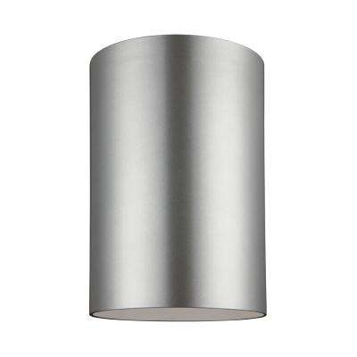Outdoor Cylinders 9 in. Painted Brushed Nickel 1-Light Outdoor Ceiling Flushmount with LED Bulb