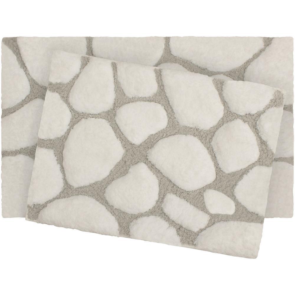 Microfiber Pebble 17 in. x 24 in./20 in. x 32 in. 2-Piece Bath Rug Set, White/Light Grey
