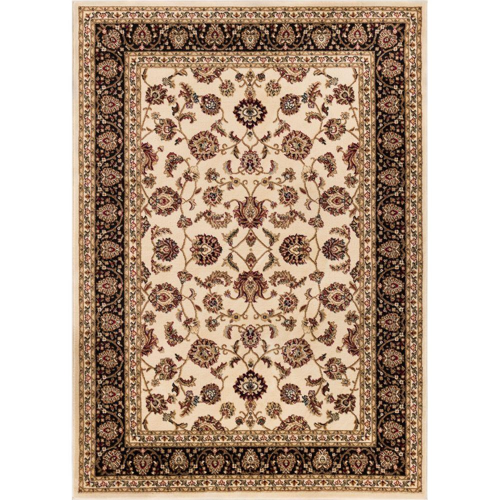Well Woven Barclay Sarouk Ivory 7 ft. 10 in. x 9 ft. 10 in. Traditional Floral Area Rug