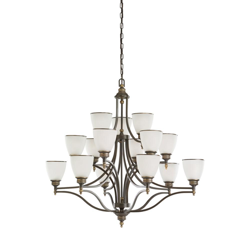 Laurel Leaf 15-Light Estate Bronze Chandelier with LED Bulbs