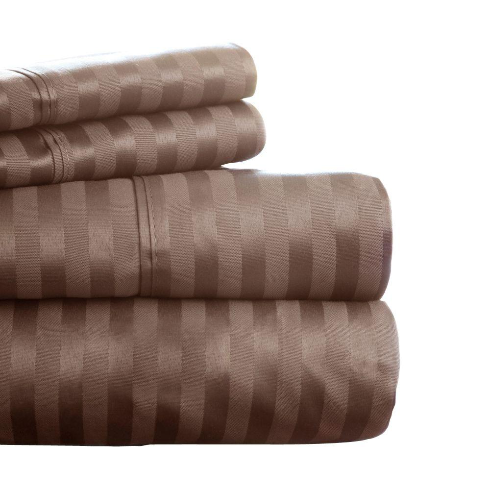 Lavish Home Brown Sateen 300 Count Cotton Queen Sheet Set (4-Piece)