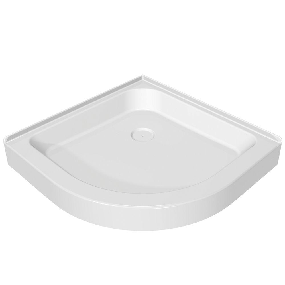 MAAX 32 in. x 32 in. Single Threshold Neo-Round Shower Base in White