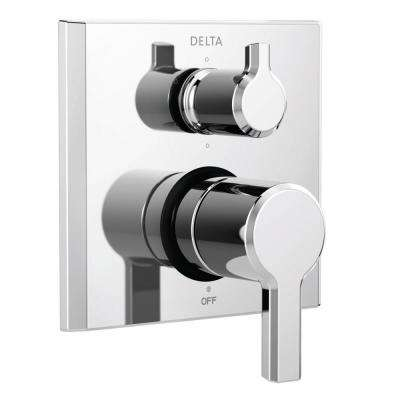 Pivotal 2-Handle Wall-Mount 6-Setting Integrated Diverter Trim Kit in Chrome (Valve Not Included)