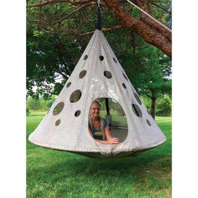 7 ft. Dia x 6 ft. MoonDrop Portable Hanging Hammock in Bark Brown