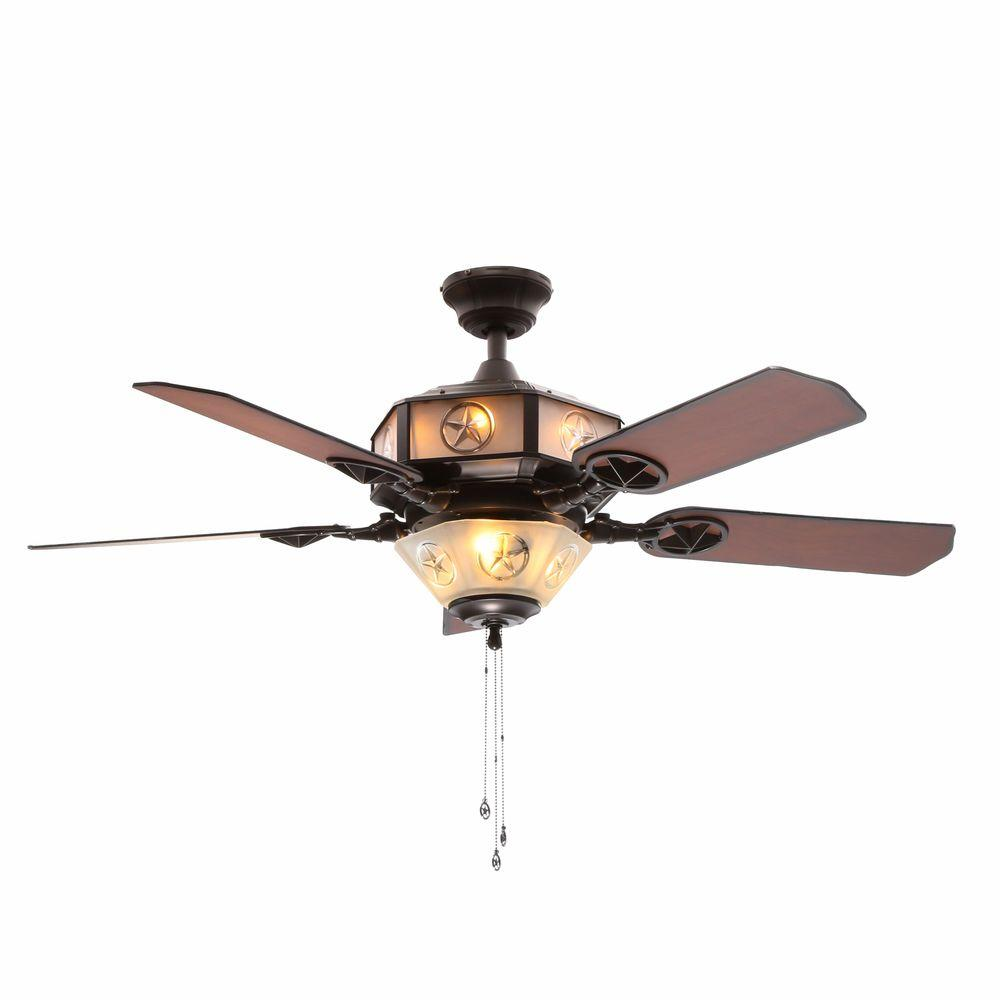 Hampton Bay Lonestar 52 in. Indoor Aged Copper and White Rock Ceiling Fan with Light Kit and Etched Glass