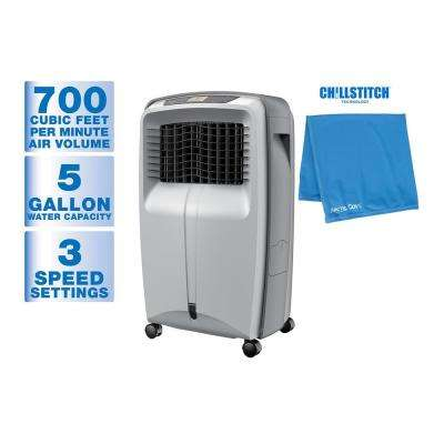 700 CFM 3-Speed Portable Evaporative Cooler for 500 sq. ft. + 10 in. x 20 in. Multi-Wrap Towel Blue
