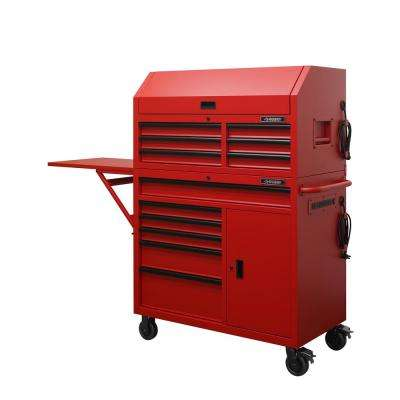44 in. W 12-Drawer Deep Combination Tool Chest and Rolling Cabinet Set in Matte Red with Extended Side Table