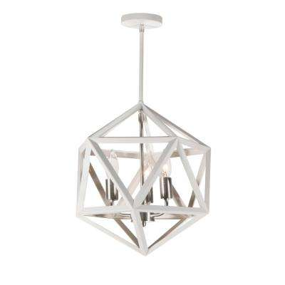 3-Light Matte White Chandelier
