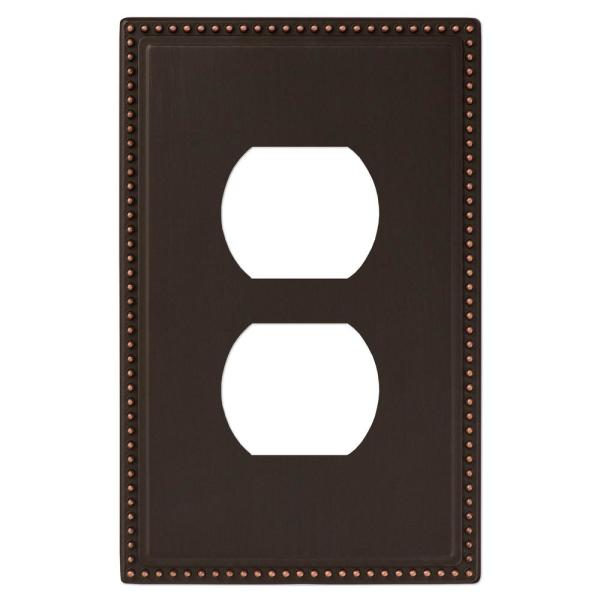 Perlina 1 Gang Duplex Metal Wall Plate - Aged Bronze