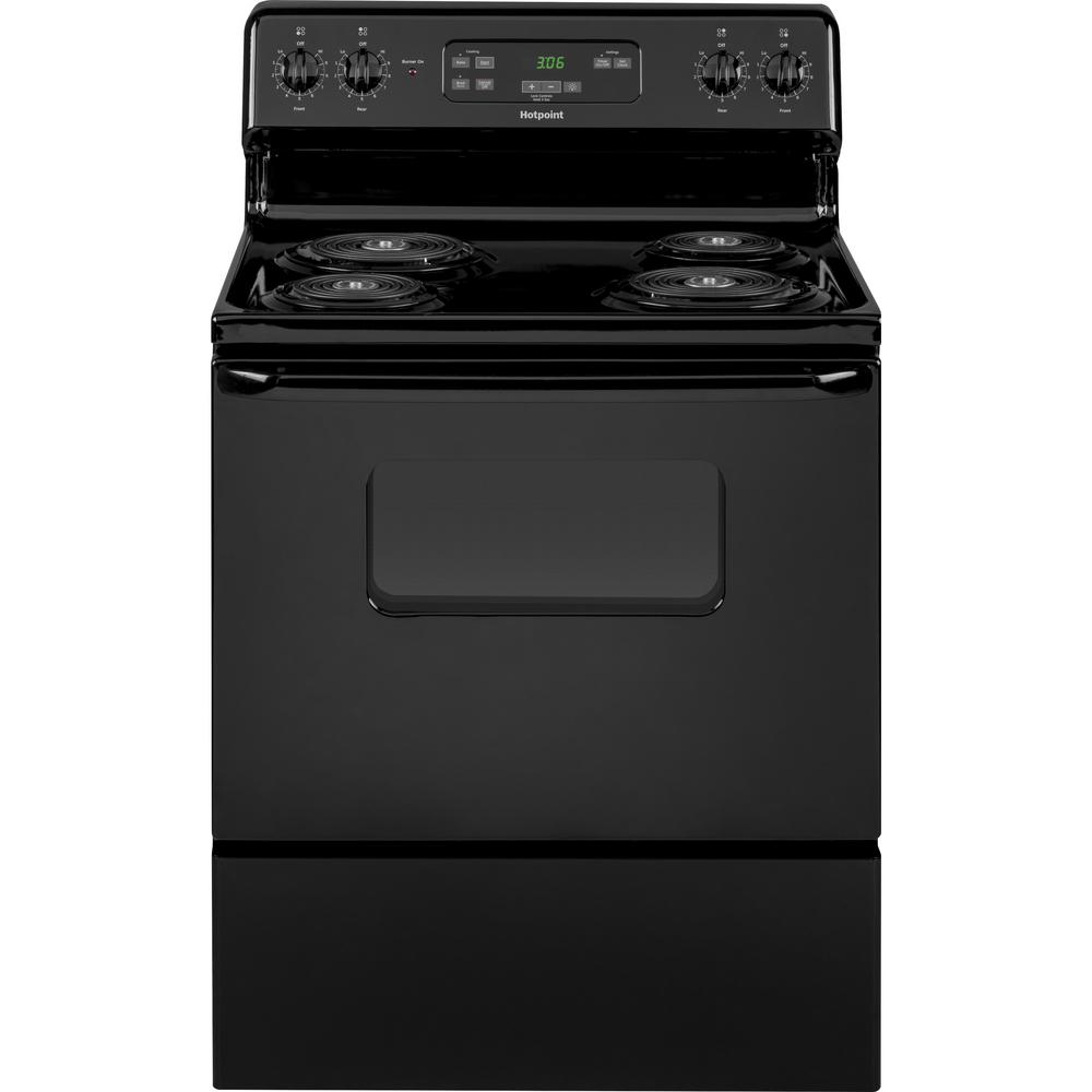 Hotpoint 30 in. 5.0 cu. ft. Electric Range Oven in Black GE appliances provide up-to-date technology and exceptional quality to simplify the way you live. With a timeless appearance, this family of appliances is ideal for your family. And, coming from one of the most trusted names in America, you know that this entire selection of appliances is as advanced as it is practical. Color: Black.