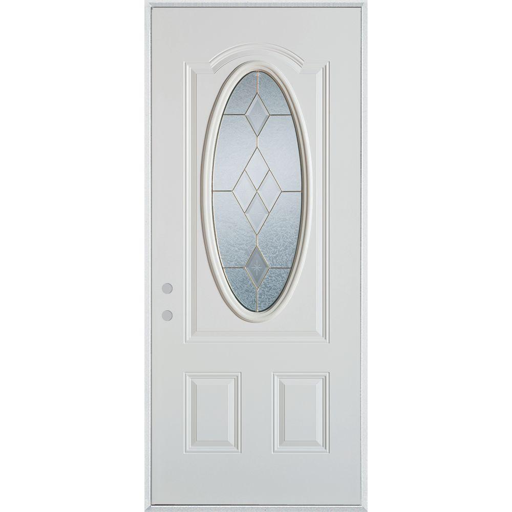 Stanley Doors 33.375 in. x 82.375 in. Geometric Brass 3/4 Oval Lite 2-Panel Painted White Right-Hand Inswing Steel Prehung Front Door