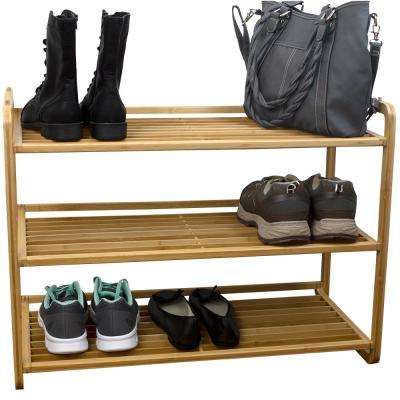 12.9 in x 29.9 in 3 Tier Bamboo Shoe Rack
