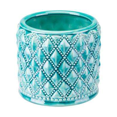 Tufted 6.8 in. W x 6.3 in. H Teal Ceramic Planter