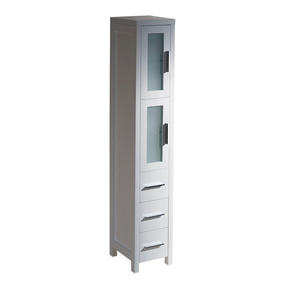 Torino 12 in. W x 68-13/100 in. H x 15 in. D Bathroom Linen Storage Tower Cabinet in White