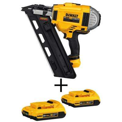 20-Volt MAX XR Lithium Ion 33-Degree Cordless Framing Nailer (Tool-Only) with Bonus Battery Pack 2.0Ah (2-Pack)