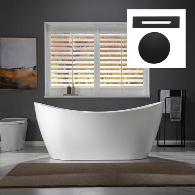 Greenfield 67 in. Acrylic Freestanding Double Slipper Flat Bottom  Soaking Tub with Drain and Overflow Included in White