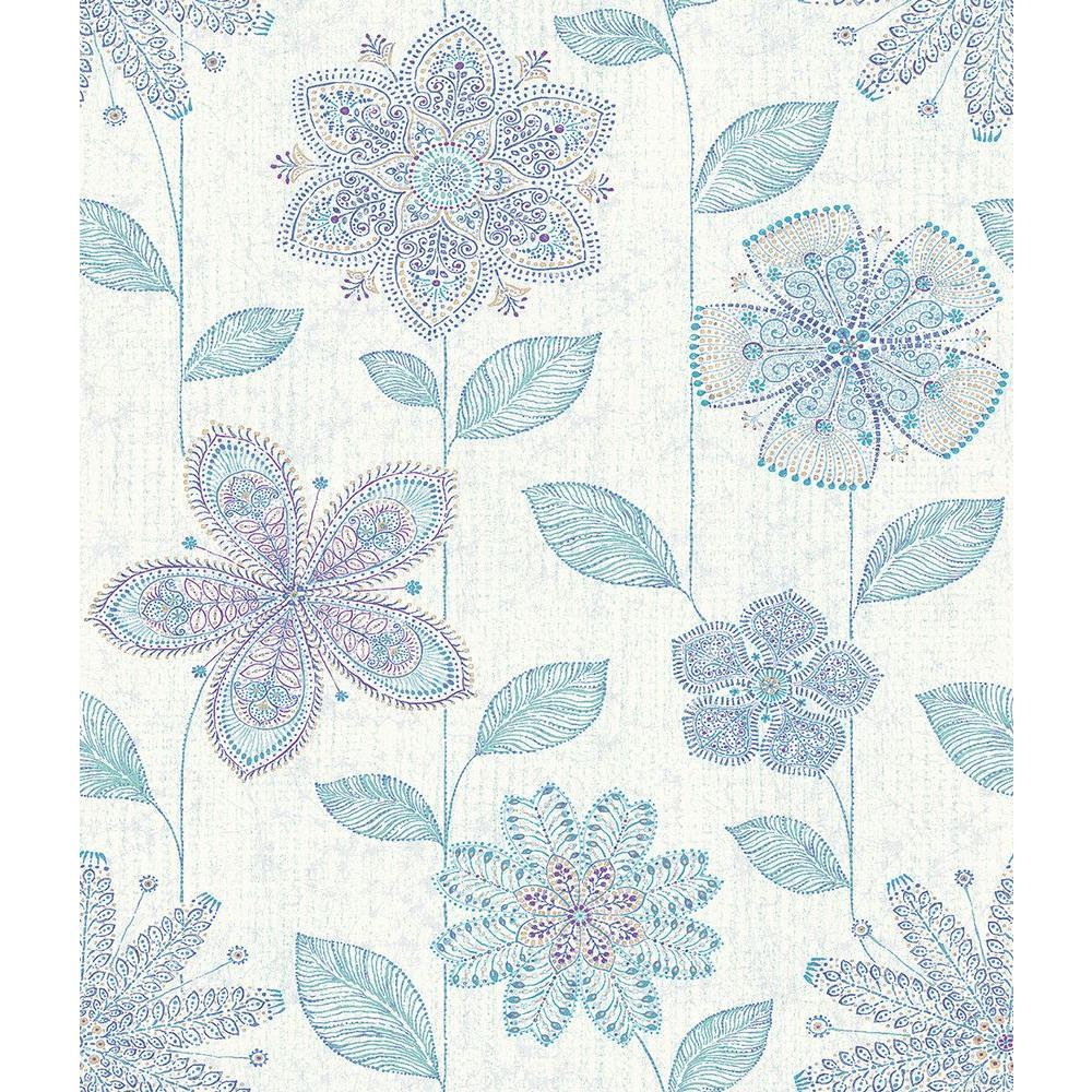 Maisie Indigo Batik Flower Wallpaper Sample