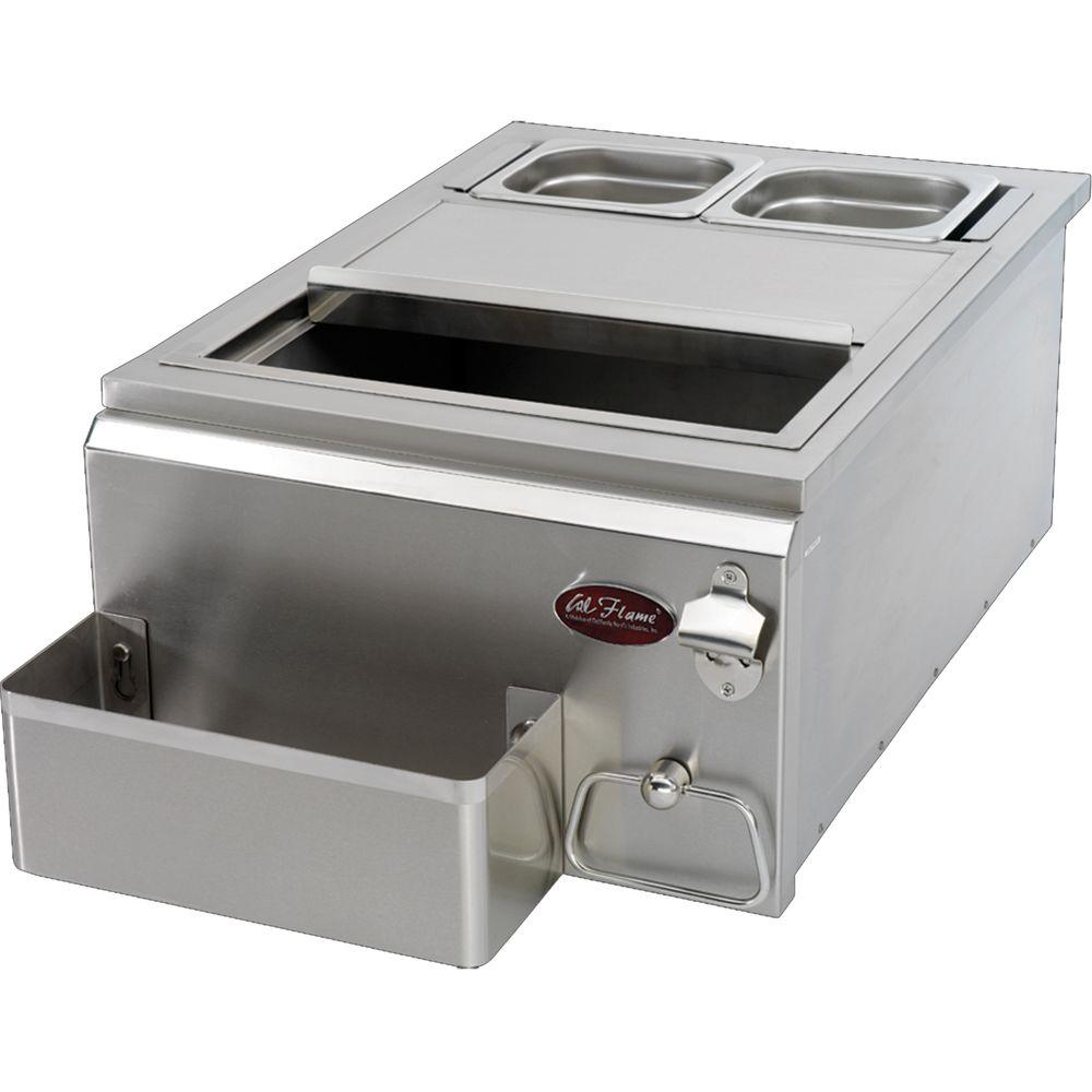18 in. Built-In Stainless Steel Cocktail Center for Outdoor Grill Island