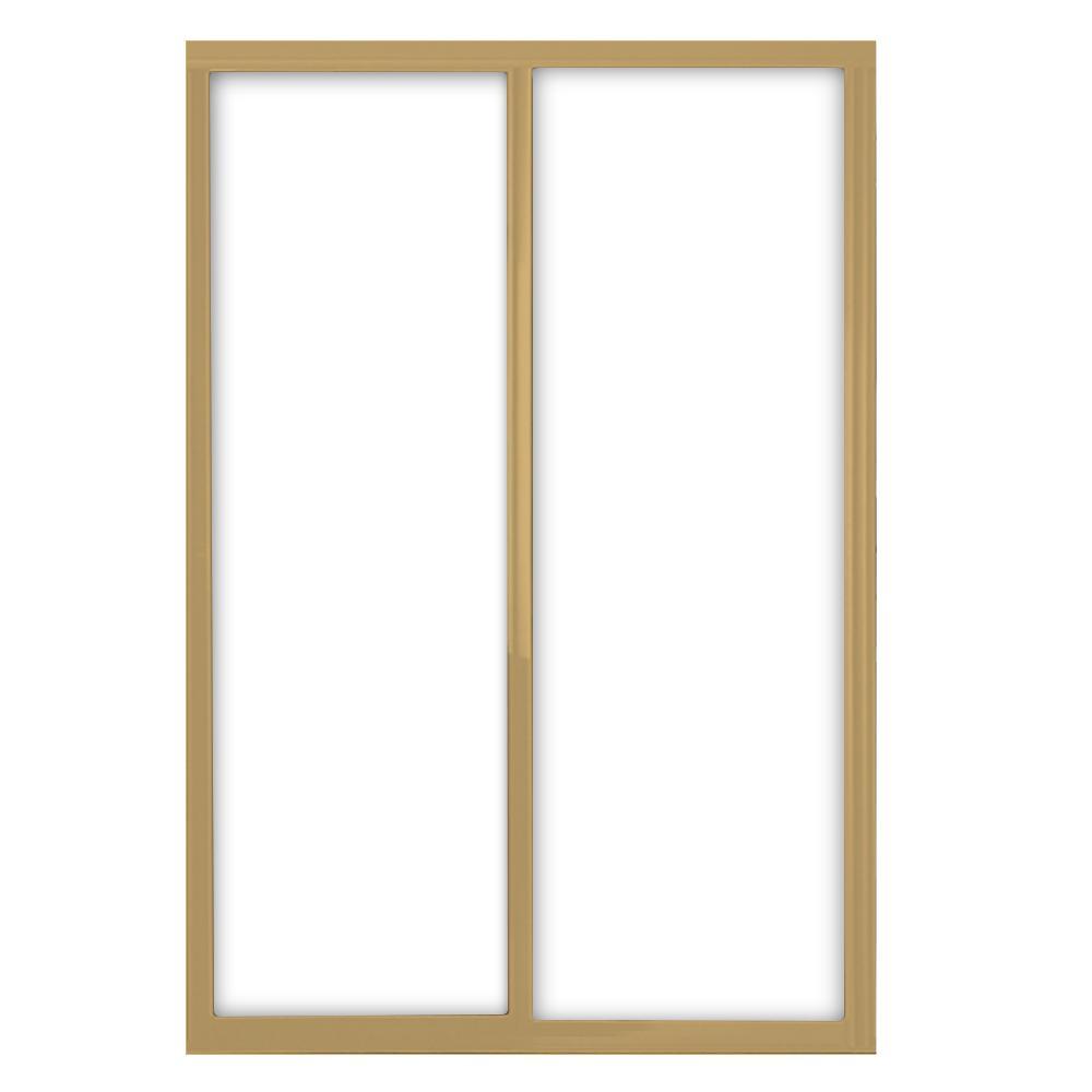 60 in. x 81 in. Silhouette 1-Lite Mystique Glass Satin Gold Frame Aluminum Sliding Door