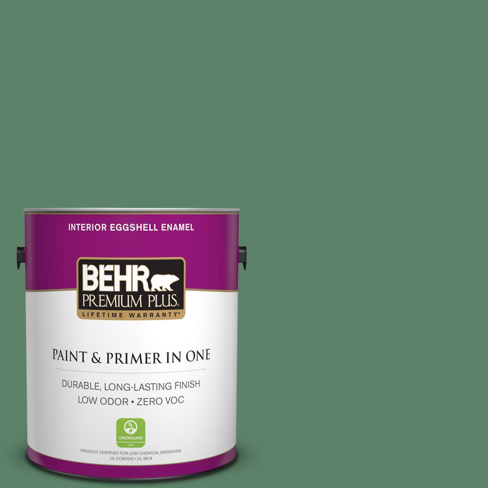 BEHR Premium Plus 1-gal. #BIC-55 Garden Greenery Eggshell Enamel Interior Paint