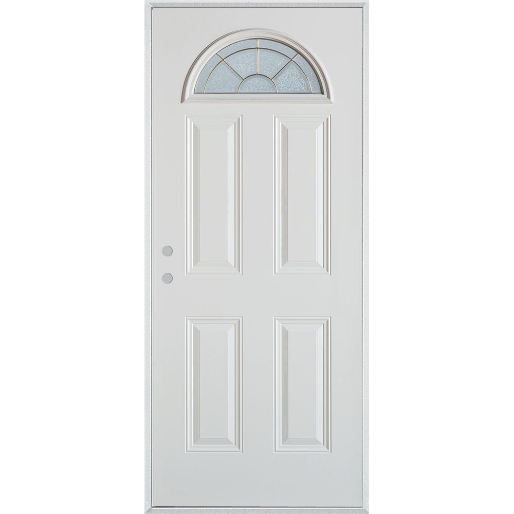 33.375 in. x 82.375 in. Geometric Zinc Fan Lite 4-Panel Painted White Right-Hand Inswing Steel Prehung Front Door
