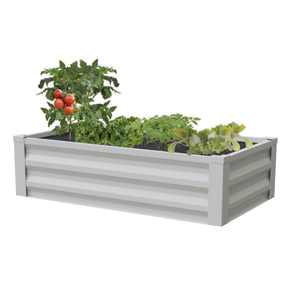 24 in. W x 48 in. L x 10 in. H White Pre-Galvanized Powder-Coated Steel Raised Garden Bed Planter