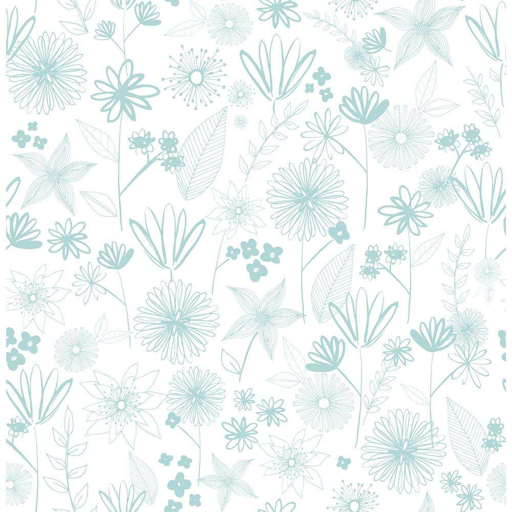 Brewster 8 In X 10 In Mariska Turquoise Meadow Wallpaper Sample