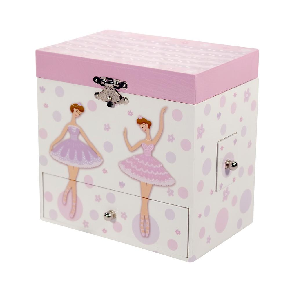 Mele Jolie Girls White Fashion Paper Musical Ballerina Jewelry Box