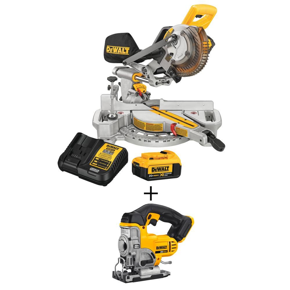 DEWALT 20-Volt MAX Lithium-Ion Cordless 7-1/4 in. Miter Saw with Battery 4Ah and Charger w/ Bonus Jigsaw
