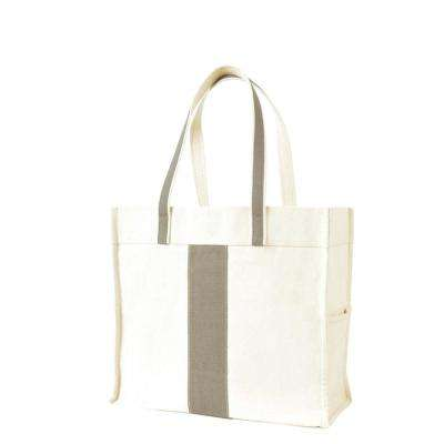 Center Stripe Gray Canvas Tote