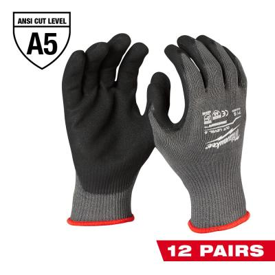 Large Gray Nitrile Level 5 Cut Resistant Dipped Work Gloves (12-Pack)