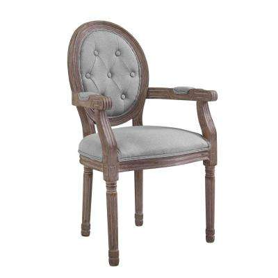 Arise Vintage Light Gray French Upholstered Fabric Dining Armchair
