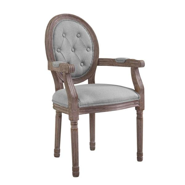 MODWAY Arise Vintage Light Gray French Upholstered Fabric Dining Armchair