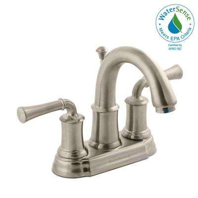 Portsmouth 4 in. Centerset 2-Handle High-Arc Bathroom Faucet with Speed Connect Drain in Brushed Nickel